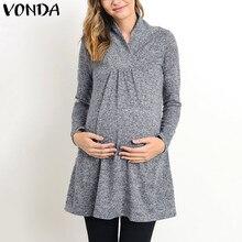 VONDA 2018 демисезонный средства ухода за кожей для будущих мам одежда беременных для женщин Повседневное свободные с длинным рукаво