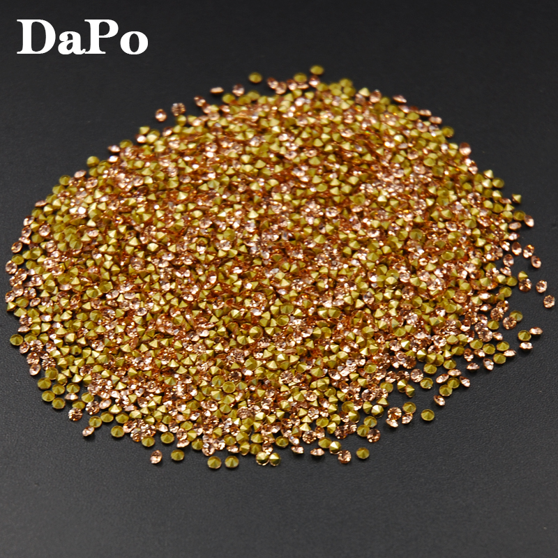 SS6 SS20 1440Pcs Champagne Color Glass Crystal Point Back Rhinestones  Chaton Glue Beads Stones Wedding Dress DIY-in Rhinestones from Home    Garden on ... 5922bf1da924