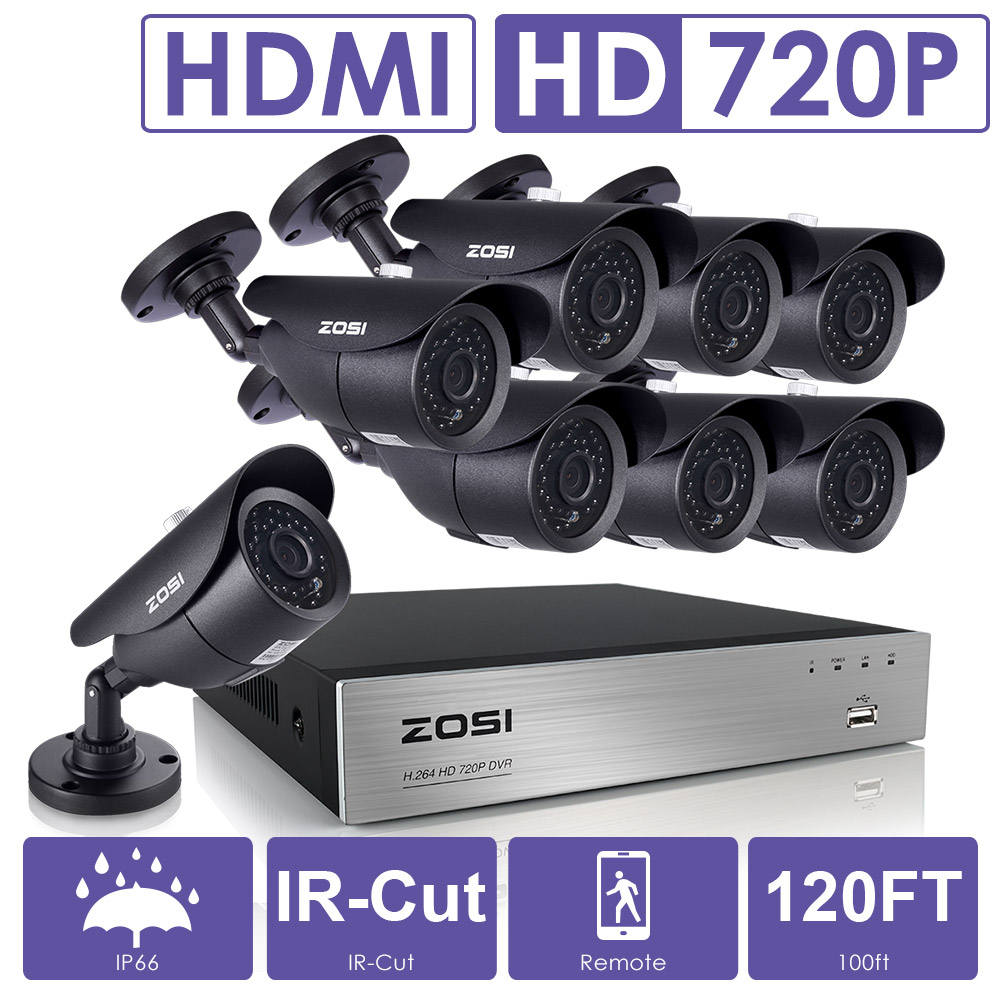 ZOSI 8CH CCTV System 1080P DVR 8PCS 1500TVL IR Weatherproof Outdoor Video Surveillance Home Security Camera System 8CH DVR Kit 8ch 960p hdmi dvr 8pcs ir indoor outdoor weatherproof wifi cctv camera home security system surveillance cctv system 3tb hdd