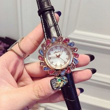 Мелисса Оболочки Леди женские Часы Часы Кварца Япония Мода Платье Кожаный Браслет Роскошные Стразы Кристалл Подарок reloj mujer