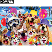 "HOMFUN Full Square/Round Drill 5D DIY Diamond Painting ""dogs cats holiday"" 3D Embroidery Cross Stitch 5D Home Decor A00687(China)"