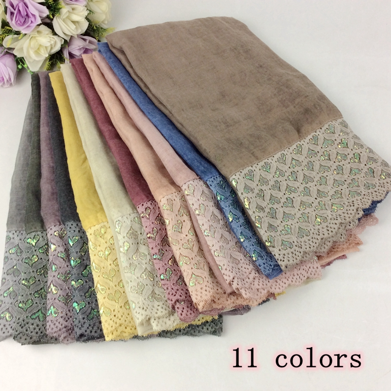 The Newest Lace Style Glitter Polyester Cotton Plain Tie Dye Women Ladies Shawls And   Scarves     Wraps   Caps 10pcs/lot