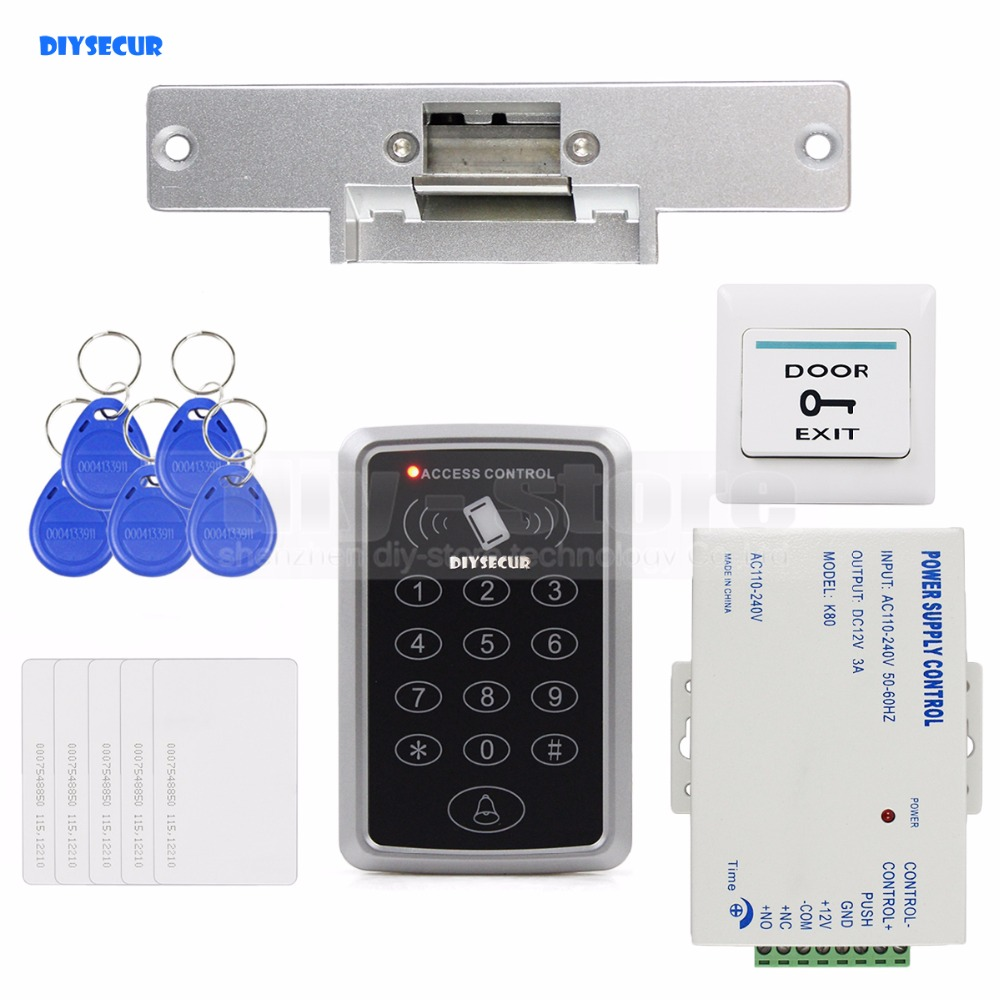 DIYSECUR 125KHz RFID Reader Password Keypad Access Control System Full Kit Set + Electric Strike Door Lock + Power Supply rfid door access control system kit set with electric lock power supply doorbell door exit button 10 keys id card reader keypad