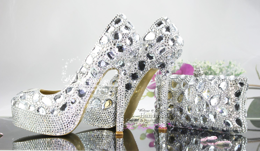 New Fashion Handmade Cinderella Silver Wedding Shoes Platform And Bags To Match In Women S Pumps From On Aliexpress Alibaba Group