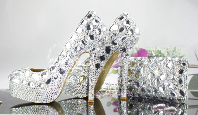 New Fashion Handmade Cinderella Silver Wedding Shoes Platform And Bags To Match