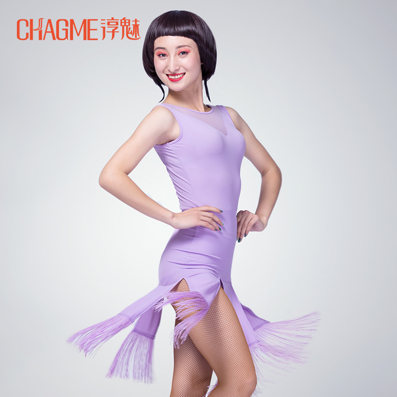 ̿̿̿(•̪ )Ballroom Costume Sexy sleeveless solid color Placketing ...