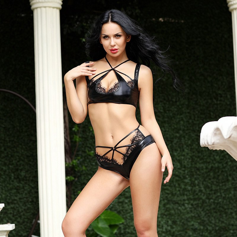 Black faux leather bra and pants set for dance sexy lingerie suit hot erotic underwear for women porno 6530