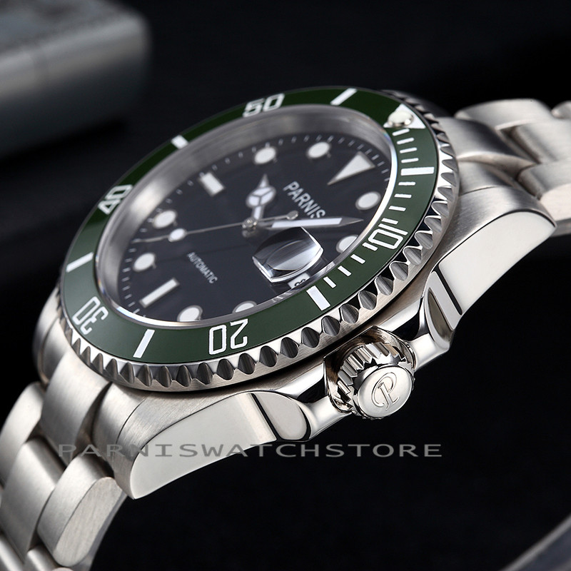 40mm Parnis Green Ceramic Bezel Stainless Steel Case Automatic Movement Auto date Men's Wrist Watch black Dial 40mm parnis stainless steel case black dial orange second hands mens automatic wristwatches pa4002sbo