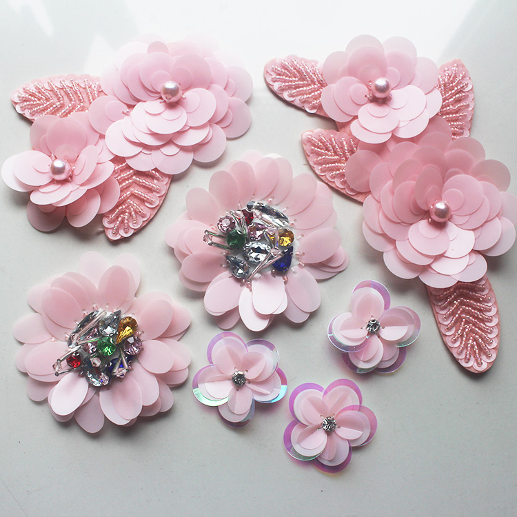 2pcs lovely pink beaded sequins pearl crystal flowers t shirt 2pcs lovely pink beaded sequins pearl crystal flowers t shirtsweatershoes accessories embroidery applique patches for clothing in patches from home mightylinksfo
