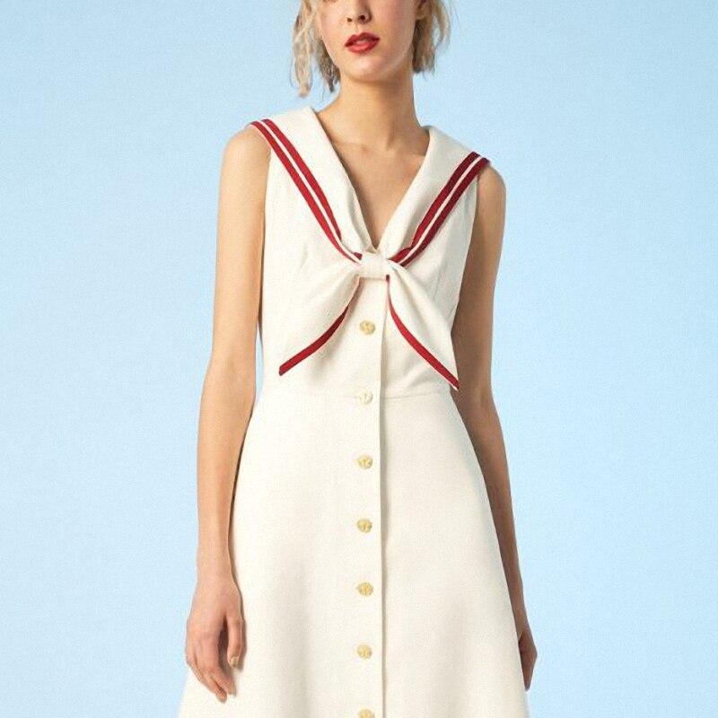 Été Casual Femmes Gamme Taille De White ligne cou Zq570 A Haute Robes Personnalisé Euramerican Rayé Mode Bouton Haut Sans Robe V Manches 9IDHWE2