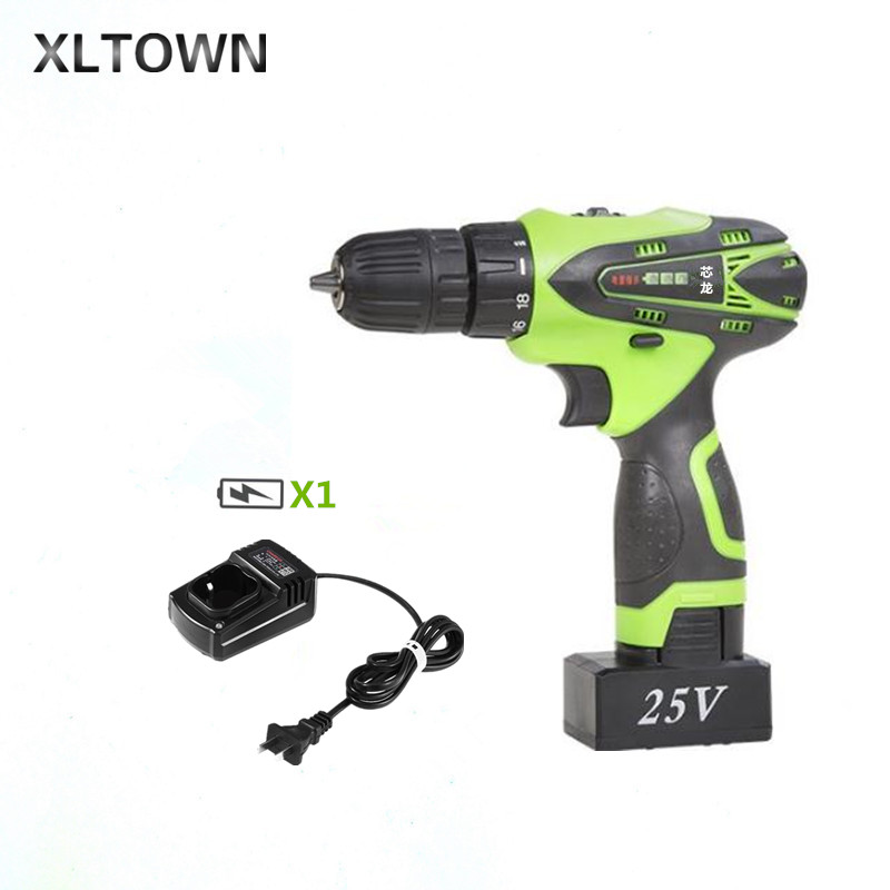XLTOWN 25V hand drill rechargeable lithium battery multi-function electric screwdriver Household power tools Mini electric drill защитное стекло borasco 3d для samsung galaxy s7 edge sm g935 золотая рамка