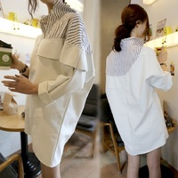 2016 Autumn New Fashion Stripes Printed Blouse Plus Size Long Sleeve Women Blouses Novelty Ruffles Turn