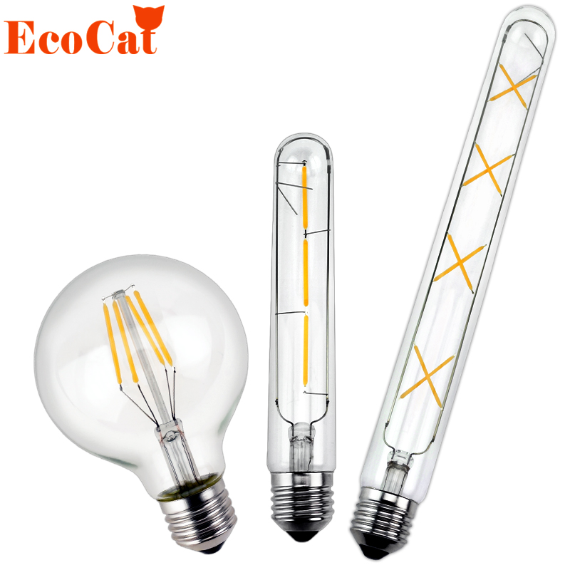 Edison LED Bulb 220v 4W 6W 7W 8W E27 G80 LED lamp E14 G95 Antique Retro Vintage Filament Light Glass T30 Bulb Lamps Light Lamp lumiparty antique light bulb classical edison bulb e27 8w filament tubular nostalgic filament incandescent home lamp