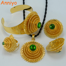 Anniyo Black/Green Stone Ethiopian Bridal Set Gold Color Pendant Rope/Earrings/Ring/Bangle Eritrea Jewelry Africa set #000215