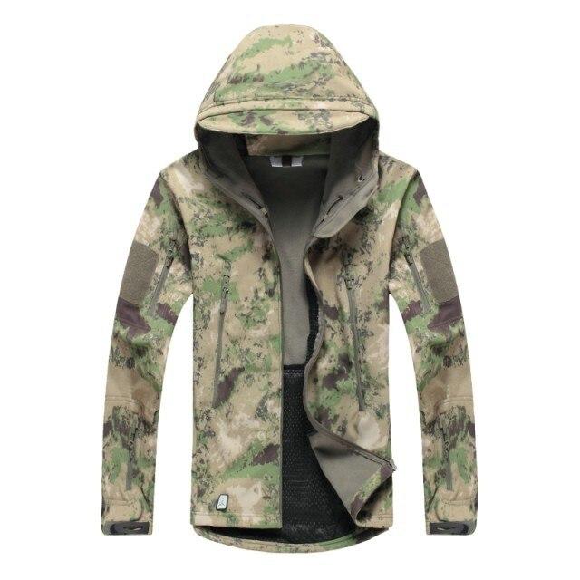 A TACS AU FG Camouflage Outdoor shark skin soft shell jacket warm fleece jacket windproof jacket for camping hiking hunting|warm fleece jacket|fleece jacket windproof|fleece jacket - title=