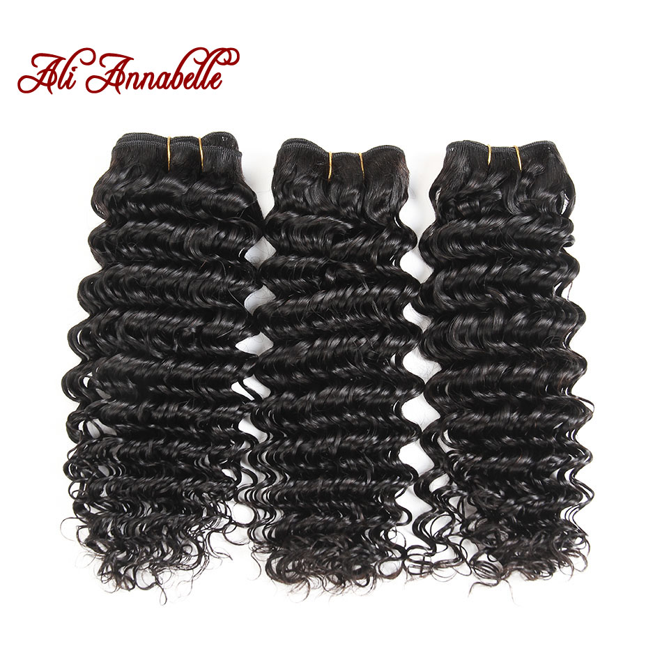 ALI ANNABELLE HAIR Deep Wave Brazilian Human Hair Weave Bundles 3 Bundles Remy Human Hair Weaving 100% Hair Extension