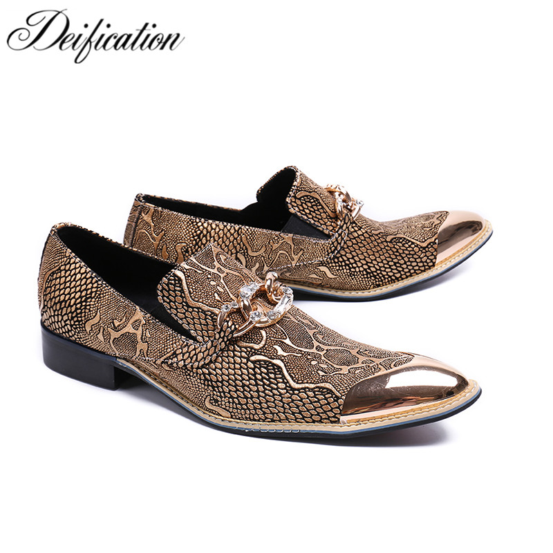 Deification sapato masculino Metal Pointy Toe mens shoes genuine leather Fashion Slip On Formal Shoes men wedding shoes zapatos pointed metal toe mens shoes formal design patchwork men leather shoes with crystal hoops spring autumn sapato masculino social