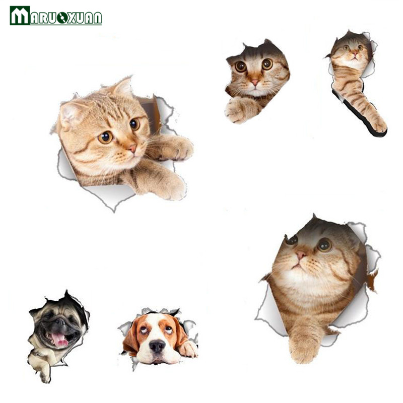 Maruoxuan 3d Bathroom Toilet Seat Sticker Diy Novelty Animal Cat Dog Living Room Refrigerator Decal Wall Stickers Bathroom Decor