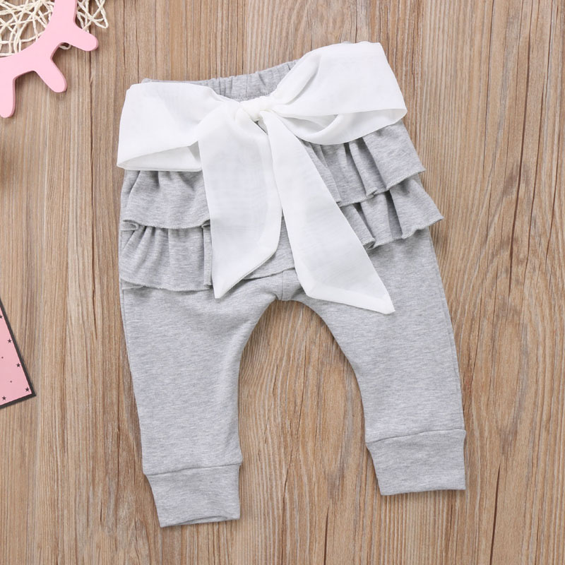 Infant Baby Girl Layered Ruffle Pants Toddler Kid Long Pants Bowknot Casual Bottoms Clothing 9
