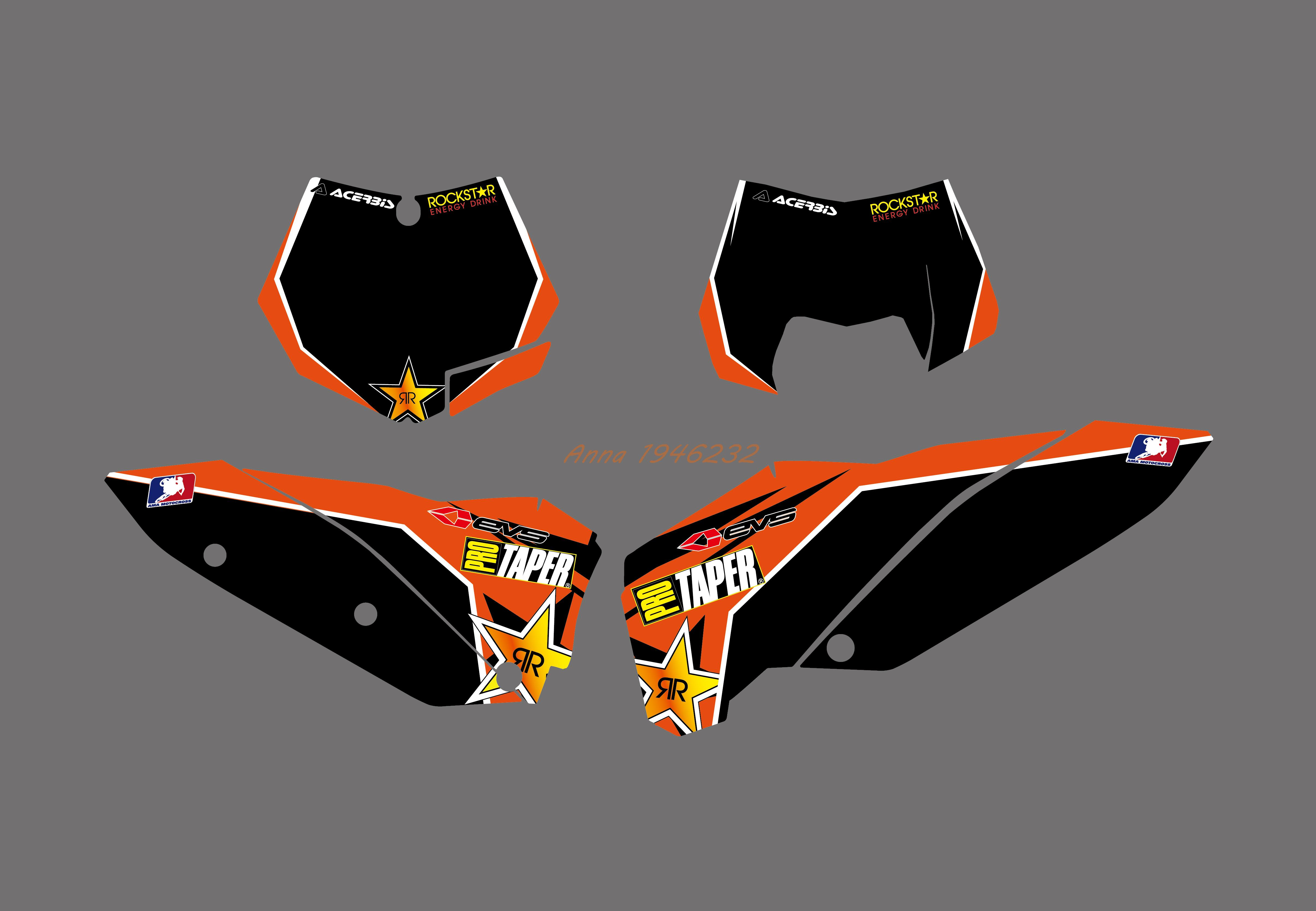 NEW Style TEAM GRAPHIC WITH BACKGROUNDS DECAL STICKER FOR KTM 125 250 300 350 450 525 SX SXF 2007 2008 2009 2010-in Decals & Stickers from Automobiles & Motorcycles    3