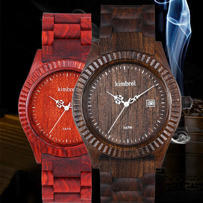 Fashion Red Sandlwood Watch For Men With Calendar Multi function Water Resistant Quartz Watch