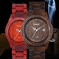 Moda Rojo Sandlwood Multi-función de Reloj Para Hombres Con Calendario Reloj de Cuarzo Resistente Al Agua