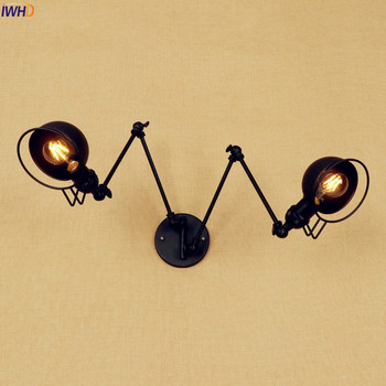 IWHD Black Long Swing Arm LED Wall Lamp Vintage 2 Heads Wandlamp Retro Stair Light Loft Industrial Edison Wall Sconce Luminaire iwhd adjustable arm led wall light vintage industrial lighting wall lamp style loft retro iron sconce luminaire on the wall