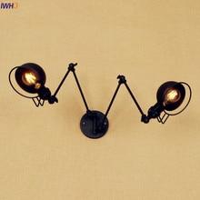 IWHD Schwarz Lange Schwinge FÜHRTE Wandleuchte Vintage 2 köpfe Wandlamp Retro Treppenlicht Loft Industrie Edison Wandleuchte leuchte