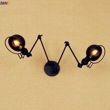 Iwhd أسود طويل سوينغ الذراع أدى الجدار مصباح خمر 2 رؤساء wandlamp الرجعية درج ضوء loft الصناعية اديسون الجدار الشمعدان الإنارة