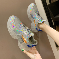 clear heels silver crystal transparent sneakers women 2019 fashion laser lace up high platform casual shoes woman zapatos YH 46