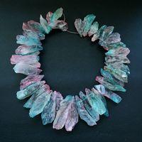 8SE11204 Druzy Quartz Irregular Multicolor Rough Crystals Graduated strand 16