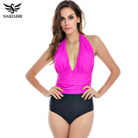 2016 New One Piece Swimsuit Women Plus Size Swimwear Sexy Halter Top Bodysuit High Waisted Bathing