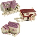 On sale Kids educational 3D Wooden Puzzle Toys Assembly Lovely Samll House Constructions