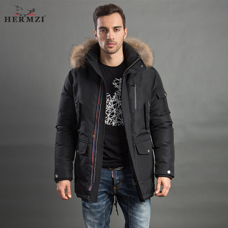 HERMZI 2017 Men Winter Jacket Fashion Coat Parka Thicken Overcoat Detachable Hood Raccoon Fur Collar European Size Free Shipping malidinu brand new 2015 winter mans thicken white duck down jacket coat hood parka european size free shipping fur collar m1399
