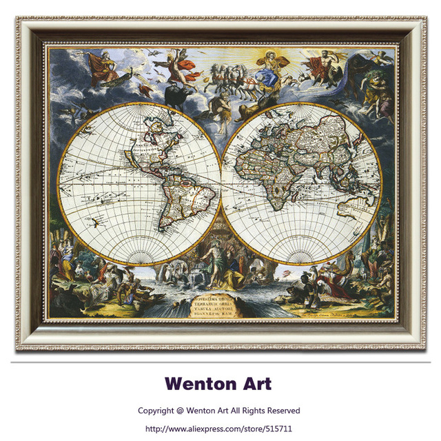 Classical vintage english world map canvas painting wall art classical vintage english world map canvas painting wall art prints map poster hangings on canvas home gumiabroncs Gallery