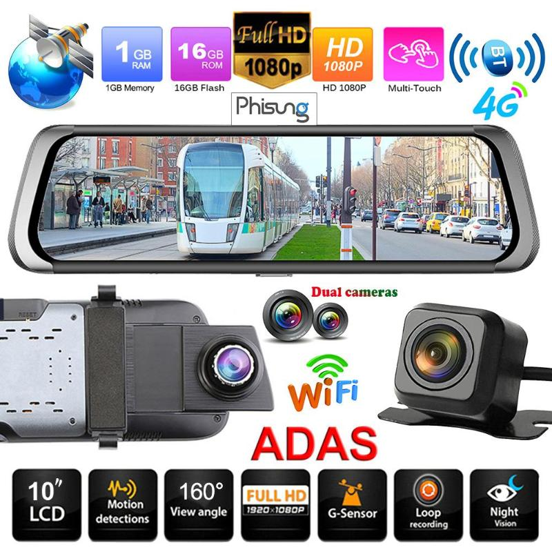 Phisung E08 10 Écran Tactile Voiture DVR Caméra Bluetooth WiFi 4g Android 1080 p Full HD Vue Arrière enregistreur vidéo Greffiers Dash Cam