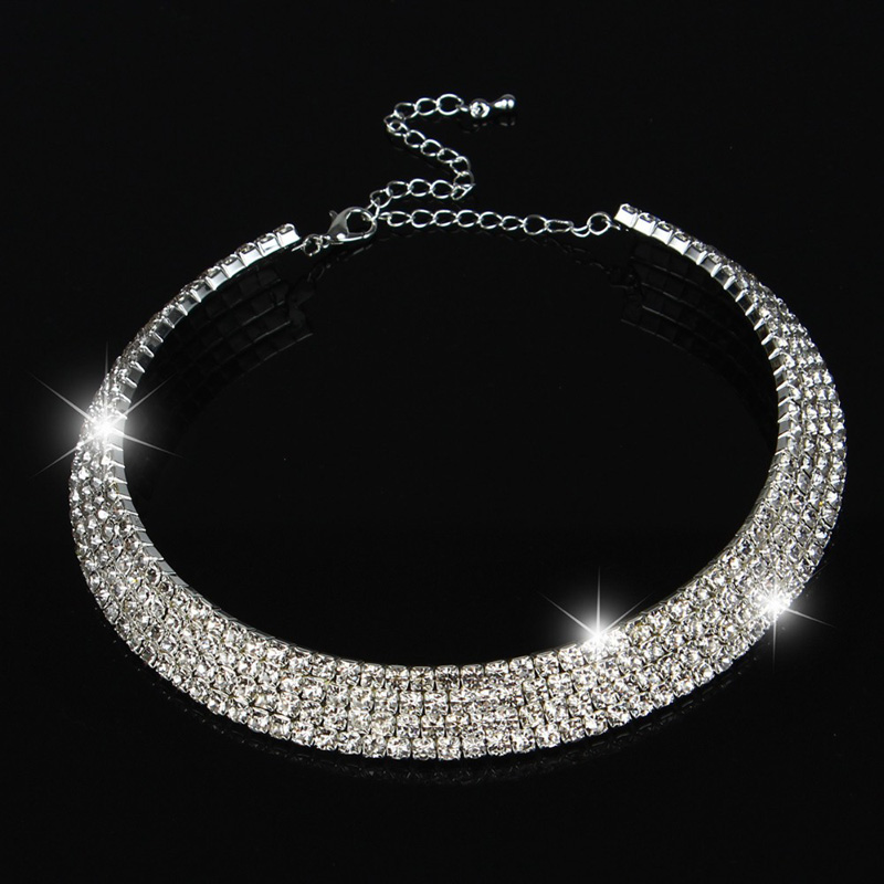 2017 Hot Sale Limited Collier Collares Maxi Necklace Wedding Bridal Jewelry 1 2 3 4 5 Row Crystal Rhinestone Choker Necklaces