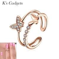 K 'ın Gadgets Nuevos Anillos Mariposas Ortak Yüzük Gümüş Kristal Kelebek Yüzük Seti Için Knuckle Ayarlanabilir Yüzük Kadın Rhinestones