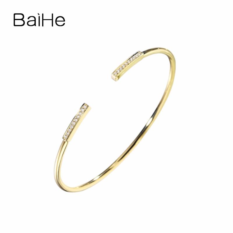 BAIHE Solid 18K Yellow Gold 0.12ct Certified H/SI Natural Diamonds Wedding Women Fine Jewelry Fashion Gift Bracelet