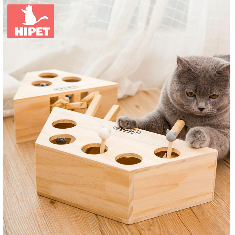 HIPET Interactive Wooden Cat Toys Funny Pet Cat Hunt Toy Kitten Educational 3/5-holed Mouse Play Toy Cat Supplies