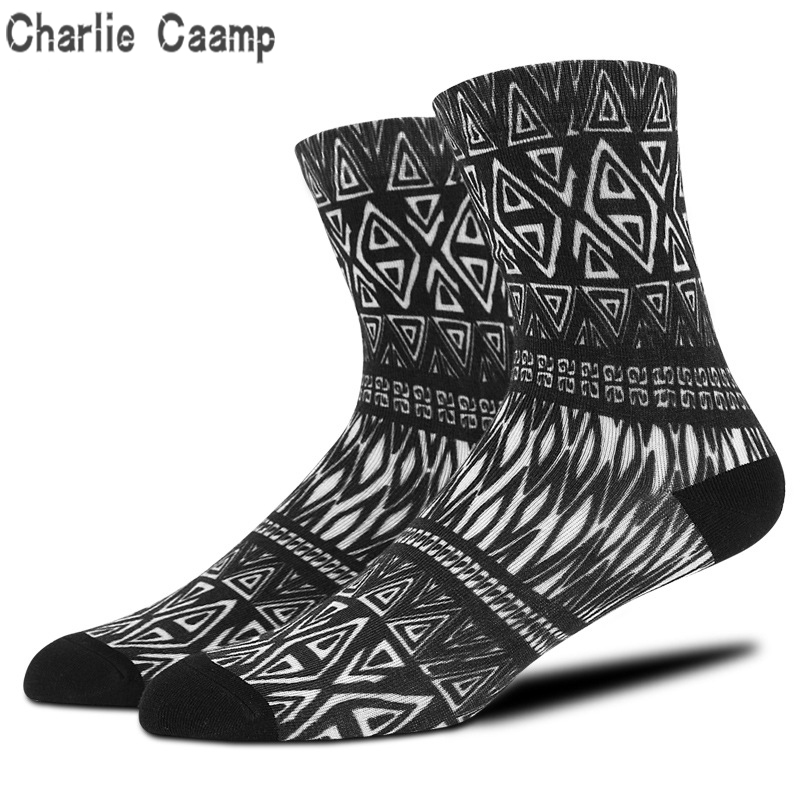 Charlie Caamp 3D Printing Socks Male 200-pin 360-degree Seamless Printing Personality Antibacterial And Deodorant Mens Socks
