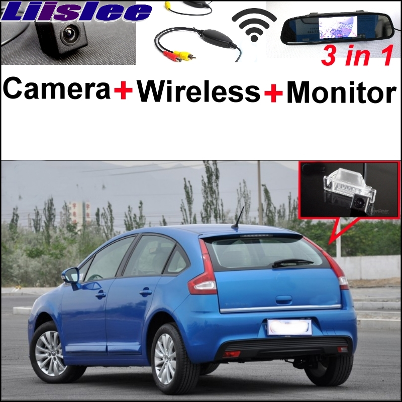 Liislee Special Rear View Camera + Wireless Receiver + Mirror Monitor Parking System For Citroen C4 C-Triomphe C-Quatre Sega wireless pager system 433 92mhz wireless restaurant table buzzer with monitor and watch receiver 3 display 42 call button