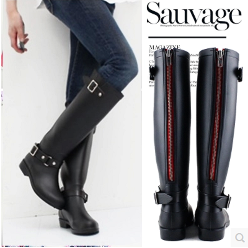 ФОТО Plus Size 36-41 Women Rain Boots Punk Style High Pipe Riding Boots for Women Army Boots Pu Leather X936 35