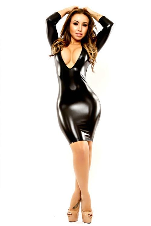 Plus Size Xxl Super Sexy Women Black Leather Latex Dress Deep V Neck