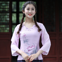 New Arrival Pink Ladies Spring Summer Blouse Women S Printed Cotton Linen Floral Shirt Chiffon Sleeve