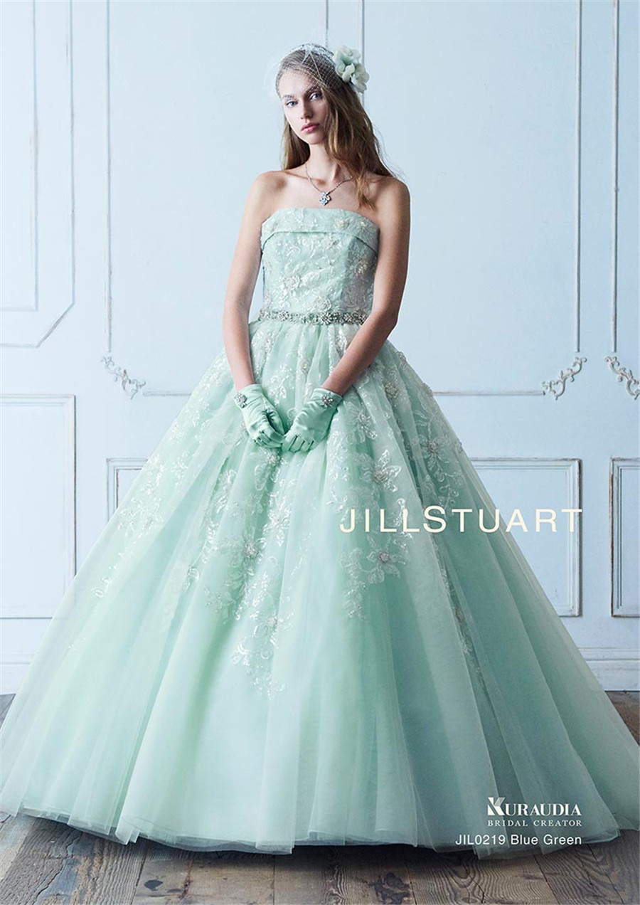 us $215.6 12% off|strapless sequin lace crystals ball gowns mint green  wedding dress with color detachable bow back bridal gowns new here-in  wedding