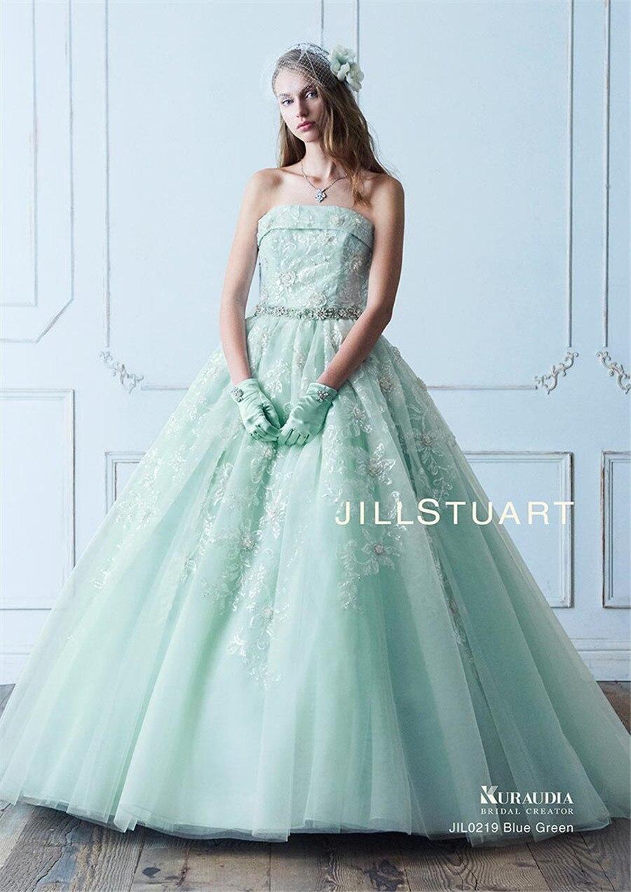 Us 245 0 Strapless Sequin Lace Kristal Bola Gowns Gaun Pengantin Dengan Warna Mint Hijau Dilepas Bow Kembali Bridal Gowns Baru Di Sini Di Wedding