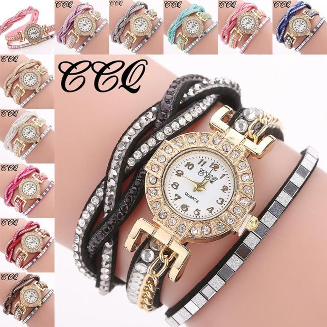 CCQ Women Fashion Casual Analog Quartz Women Rhinestone Watch Bracelet Watch fem
