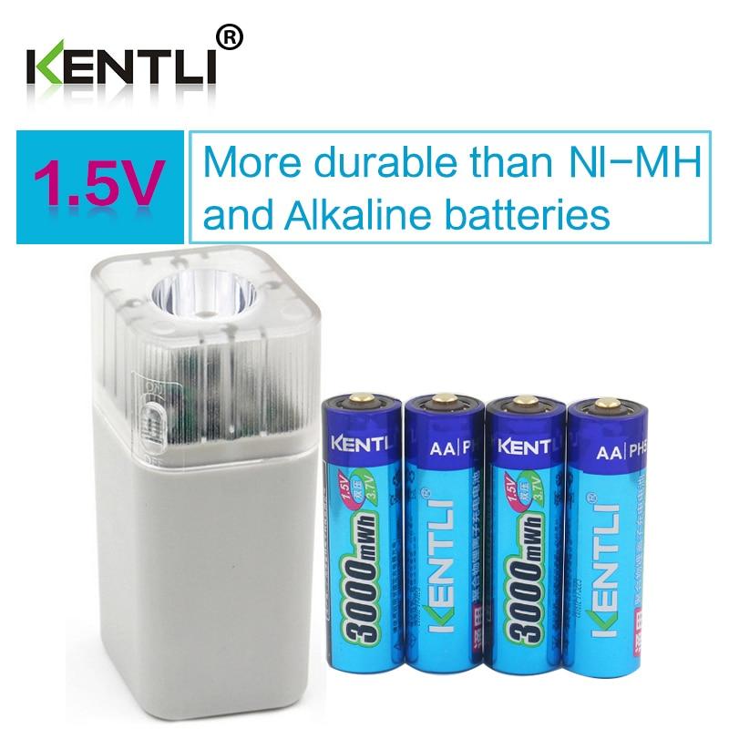 4pcs KENTLI 1.5v 3000mWh Li-polymer li-ion lithium rechargeable AA battery batteries + 4 slots Charger with LED flashlight