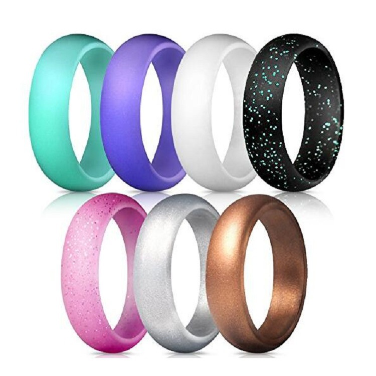 Silicone Wedding Ring Women 7 Pack, Premium Rubber Wedding